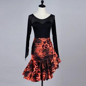 Women's latin ballroom dance dressorange leopard latin skirt dresses ballroom dress