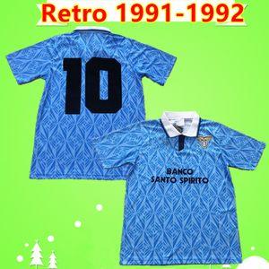 Manchester United jersey Maglia da calcio Sosa Riedle Boneca Stroppa Sergio 1991 1992 clássico Lazio camisa de futebol 91 92 Vintage camisa de futebol em casa azul Itália