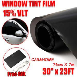 1 Pc 0.76x7m 15% VLT Fenêtre Réfléchissante Teintant Film Noir Rouleau Film Autocollant pour Voiture Auto Maison Commercial Protection Solaire Été
