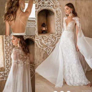 Asaf Dadush 2020 Mermaid Wedding Dresses with Long Lace Chiffon Wrap Cape Sexy Beaded Straps Trumpet Beach Bride Wedding Gown
