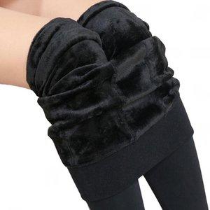 VIIANLES Kış Pantolon Sıcak Kadife Pantolon Kadınlar Yüksek Bel Pantolon Elastik Kıvam Kadın Sıkı Kız Cilt Siyah Kalem Pantolon