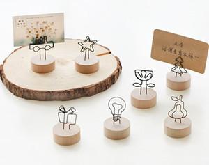 Madeira Place Card Stand Holder Com Clip Casamento Retro de madeira clip suporte de mesa Número Memo Stands Partido Tabela Decoração DBC BH2917