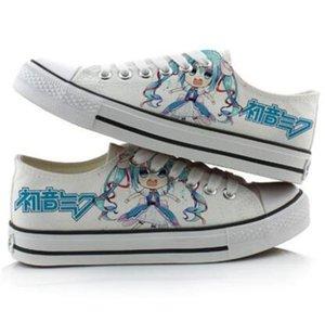 High-Q Unisex Anime Cos Hatsune Miku shoes Casual Canvas shoes VOCALOID Hatsune Miku Low Flat bottom duck shoes plimsolls