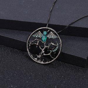 BALLET GEM'S مصاص الدماء هالوين الحزب الطبيعية العقيق الأخضر 925 مجوهرات فضة اليدوية قلادة للنساء الجميلة