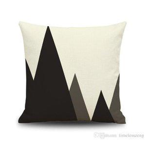 Абстрактный черный и белый полосатый пунктирная Наволочка Сетка Треугольные Геометрические искусство льняные наволочки без подушки