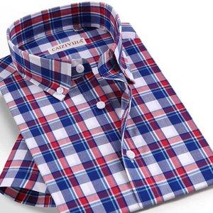 Erkekler Yaz Kısa Kollu Ekose Damalı Gömlek Cep az Tasarım Casual Düğme aşağı Yaka Standart-fit Pamuk şemsiye Gömlek