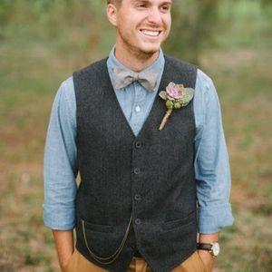 Vintage Cinza Tweed Colete de Lã de Espinha De Peixe Noivo Coletes Moda Estilo dos homens Terno Coletes Slim Fit Vestido Dos Homens Colete de Casamento Colete