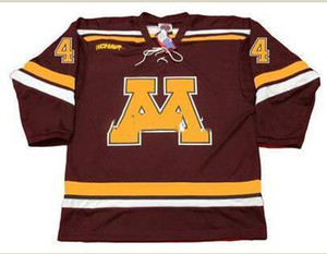 Mens # 4 ERIK JOHNSON Minnesota Gophers 2006 Hockey Jersey ou personnalisé tout nom ou numéro Rétro Jersey
