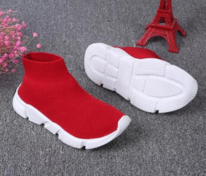 Yeni Tasarımcı Hız Eğitmeni Çizmeler Çorap Streç-Örgü Eğitmen Ayakkabı Siyah Beyaz Sneaker Çiftler çocuklar ayakkabı Rahat euro 26-35