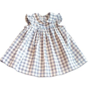 Baby Girl Dress Niños Plaid Ruffles Latticed Dresses Set Toddler Summer 2019 Ropa de moda Set First Birthday Outfit Y19061101
