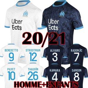 Maglia da calcio BALOTELLI Olympique de Marseille 2019 2020 Marseille Uniforme bambini PAYET OM Adulto via Blu Terza L GUSTAVO THAUVIN Camici