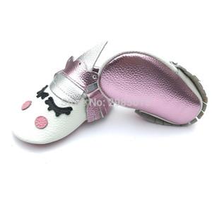 Vente en gros Alibaba À La Main Personnalisé Mignon Bébé Garçon Et Filles Partie Mocassins Blush Licorne Bébé Chaussures J190517