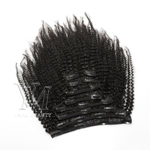Fashionable Peruvian Virgin Human Hair Afro Curly Kinky Straight 4A Clip In Hair 120g 140g 160g Natural Color Cuticle Aligned