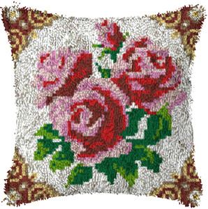 Red Rose Latch Hook Rug Kits Segment Embroidery Pillow Wool Cross Stitch Carpet Embroidery DIY Latch Hook Pillow