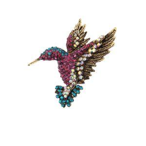 Free Shipping Hot sale Vintage Gold Tone Elegant Rhinestone Crystal Animal Hummingbird Brooch Pin Enamel Bird brooch pin