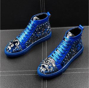 Italia New Men diseñador nacionalidad remache paillette Casual Flats tops zapatos Hombre punk rock ocio ccasins Mocasines zapatos EUR38-43