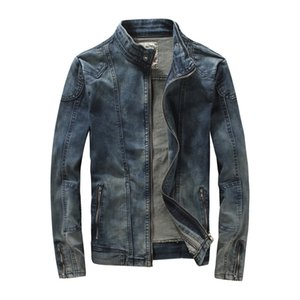 erkekler, Korece tasarımcı sıkı kot giysi için MYAZHOU Avrupa Amerikan Bahar Erkek pamuk standı Yaka Boş İnce Denim Ceket