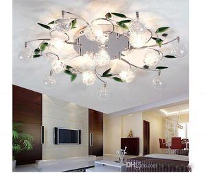 LED 천장 조명 현대 녹색 잎 빛 수정 구슬 천장 조명 알루미늄 와이어 천장 램프 거실 샹들리에 6/10/15 조명
