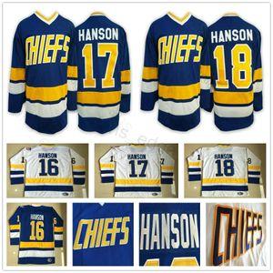 Adulti Hanson Brothers Charlestown Slap Shot hokey Jersey # 16 Jack Hanson 17 Steve 18 Jeff Hanson Slapshot cucito pullover blu bianco