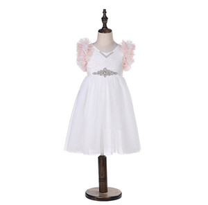 Mädchen spitze stickerei kleid kinder abgestuften rüschen fliegen hülse prinzessin kleid kinder strass gürtel spitze tüll kleid mädchen party kleider F3899