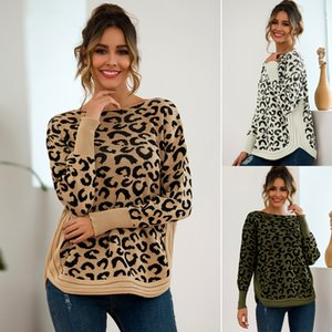 Leopard Knitted Sweater Korean Fashion Ladies Long Sleeve Women O-neck Pullover Autumn Fall Winter New Sweater Hem Casual Loose Tops