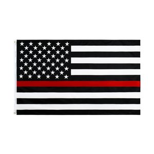 Trasporto libero nelle azione 3x5ft 90x150cm poliestere USA Bandiera Stati Uniti d'America sottile linea rossa Fire Fighter White Flag Red Flag