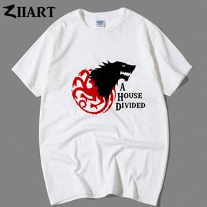 Stark Targaryen Gri Direwolf Üç Başlı Ejderha Bir Ev Bölünmüş Çift Giyim Erkek Erkek Erkek Ç Yaka Kısa Kollu T Shirt Trendy T Sh SLI2 #