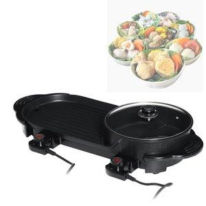 2 en 1 vente Hot Hot Pot électrique Four mixte Cuisinière Barbecue Barbecue Plancha Pan Smokeless antiadhésif Shabu Pot Hotpot Plaque de cuisson