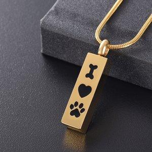 Pet Memorial Takı Tut Cenaze Ashes Of H8000 Kaybı - I Love Dog Paw Paslanmaz Çelik Keepsake kremasyonu Urn Altın Kolye