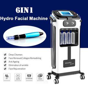 6IN1 Hydra Facial Dermabrasion Maschine Hautverjüngung Derma Stift Hautverjüngung Bio Faltenentfernung Akne-Therapie Ultraschall RF Equipent
