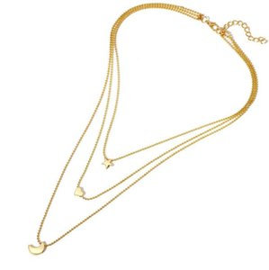 DHL Vintage Statement Choker Star Moon Heart Chain Gold Necklaces For Women Girls Multi-layer Pendant Jewelry nd