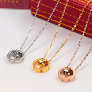 Heißer Verkaufs-LIEBE Doppel-Kreis-Anhänger Rose Gold-Silber-Halskette für Frauen-Weinlese-Kragen-Kostüm-Schmucksachen mit Samtbeutel Kein Kasten