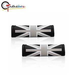 2PCS Universal Leder Union Jack UK Flag Muster Auto Sicherheit Komfort Sicherheitsgurt-Schulter-Auflage-Abdeckungen für Mini Cooper Car Styling