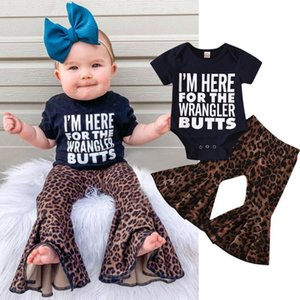 Toddler Kids Baby Girls Letter Romper Tops Leopard Flared Pants Set Outfits Baby Sets Summer Clothing Newborn Clothes Outerwear