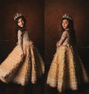 Champagne Royal Flower Girls Dresses Long Sleeve Appliqued Lace Sequins Tiered Tulle Girl Pageant Dress Sweep Train Kids Formal Wedding Wear