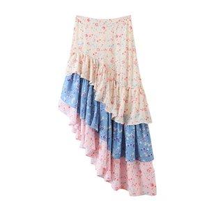 Stampa floreale Skirt di estate delle donne Vintage asimmetrica increspato vita alta lunga della Boemia Gonne Boho Beach Vintage vacanze Mare Maxi gonna