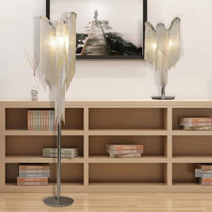 Modern silver tassel floor lamp living room led table lamp silver fringe bedroom metal floor lighting decoration kitchen fixture