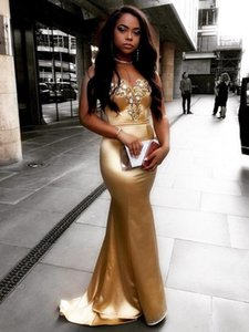 Sexy Gold Long Prom Dress Mermaid Satin 2020 Sweetheart Zipper Back Cocktail Party Evening Gowns Robe de soiree Special Occasion Dresses