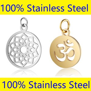 5pcs/lot 100% Stainless Steel Yoga Om Charms Vnistar Hansa Hand Lucky Horseshoe Yinyang Amulet Steel Jewelry Finding Charm