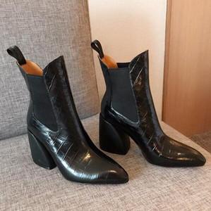Мода марка Высокий каблук сапоги женщин роскошный кожаный лодыжки пинетки 9см Коренастый дамы Sexy Указал черный белый Высокие каблуки