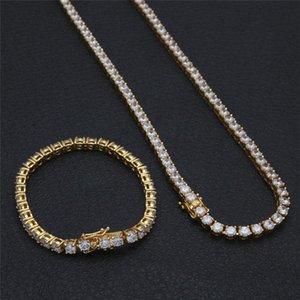Fashion Hip Hop Bracelets Necklaces Jewelry Sets Luxury CZ Chain Bracelet Necklace Mens Gold Plated Chains Set Lover Gift