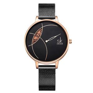 Aço inoxidável Shengke alta qualidade Ladies Watch Quartz Fashion Dress Relógio de pulso Strap malha pulseira 001 Presente de aniversário para mulheres