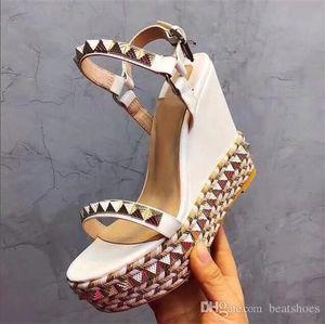 Designers Red Bottom Sandals Cataclou Cork Wedge Shoes Women Espadrille Pump Summer Sandals Silver glitter-covered Platform Sandals US9