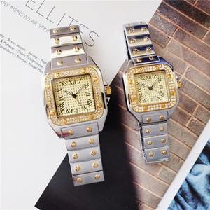 Wholesale Mode Mens Femmes Regardez des montres Diamant Glafe Steel Designers Inox Mouvement Quartz Mouvement Montre Montre Lady Horloge
