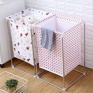 Non-woven Laundry Basket Wrought Iron Frame Assembled Waterproof Hamper Household Dirty Clothes Storage Bucket Multi-purpose Ham T200624