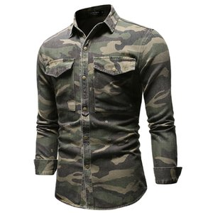 New Jean Shirts Army Green Casual Straight Male Tshirts Long Sleeve Single Breasted Boys Clothing Spring Mens Camouflage coats