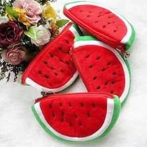 Plüsch rote Wassermelone Münzen Taschen Obst Brieftasche großes Volumen Wassermelone Schule Kinder Stift Bleistift Tasche Fall beliebte Geldbörsen Geschenk