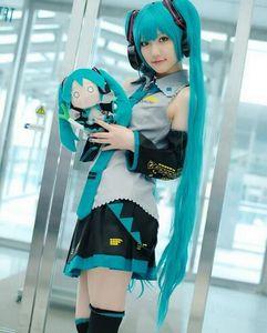 Vollen Satz Vocaloid Cosplay Hatsune Miku Cosplay Kostüm Outfits Anime Cosplay Harajuku Kostüme (Kleid + Socking + Stulpen + Krawatte + Gürtel)