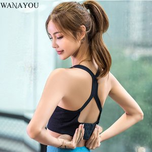 WANAYOU Women Hollow Out Beauty Back Yoga Bras Shockproof Running Sports Bras Breathable Seamless Gym Workout Fitness Crop Top