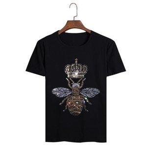 코튼 캐주얼 다이아몬드 크기 부드러운 패션 꿀벌 T 셔츠 크루 넥 짧은 소매 여름 Tshirts 옴므 디자인 망 플러스 크라운 탑스 티셔츠 CSHVB